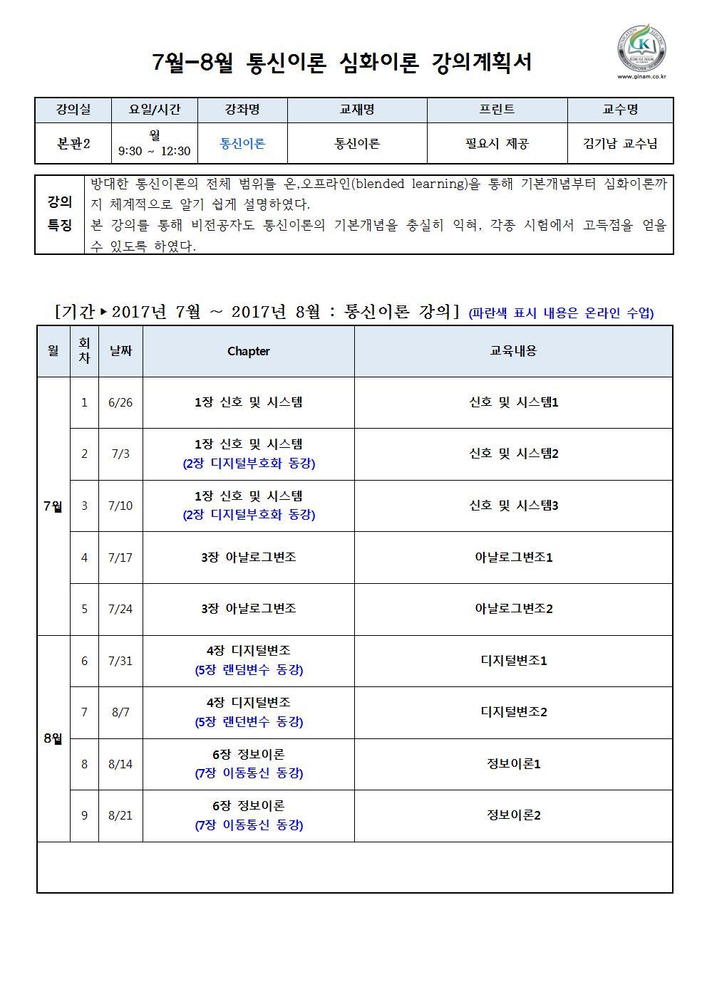 2017년 7월 8월 통신이론 강의계획서(김기남 교수)001.jpg
